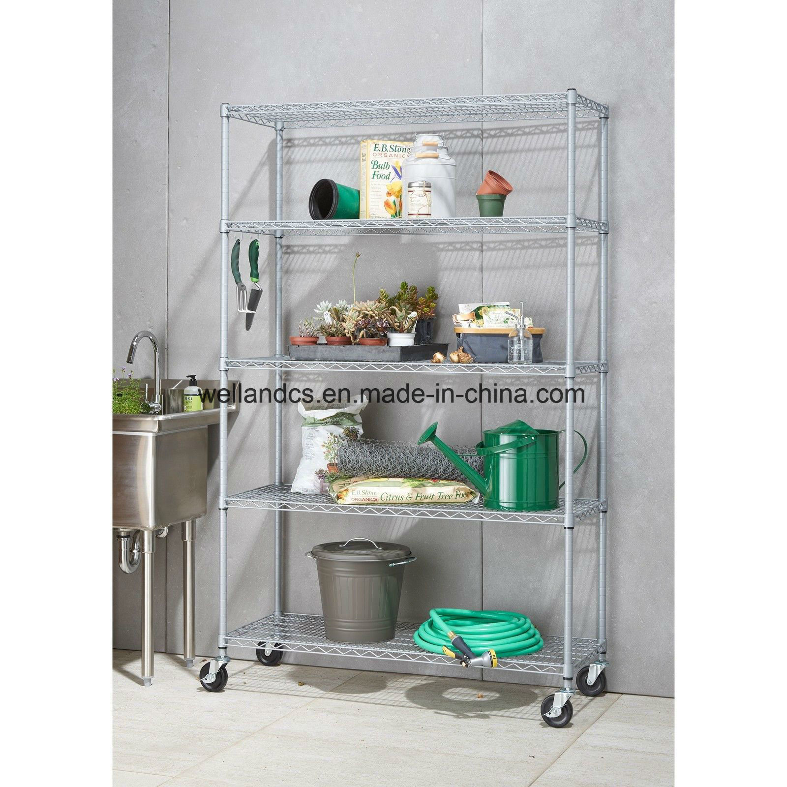 Hot Item Nsf Adjustable 5 Tiers Heavy Duty Commercial Metal Wire Shelving On Caster 48 X 18