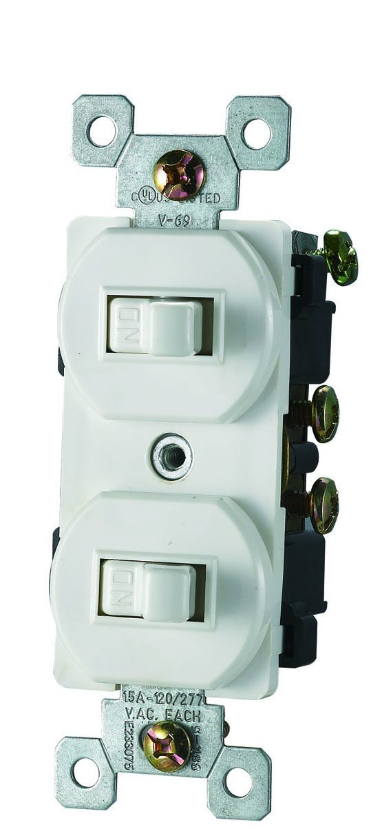 15 AMP, 120/277 Volt, Two Single-Pole AC Combination Switch