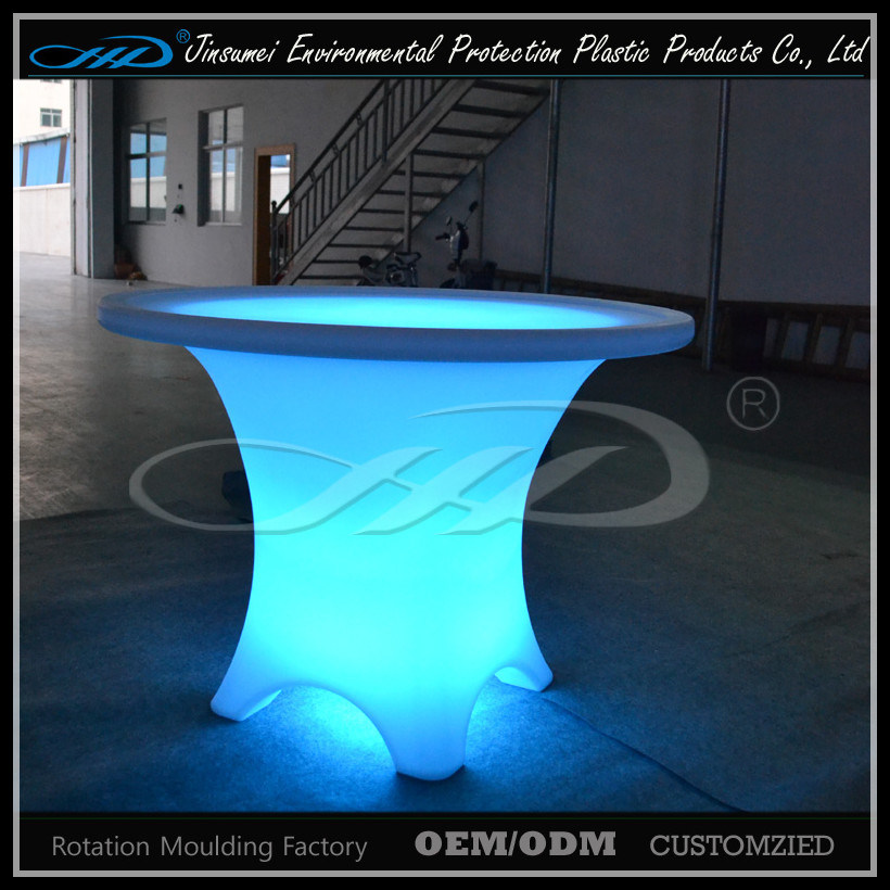 PE Material Plastic LED Bar Round Table for Restaurant pictures & photos