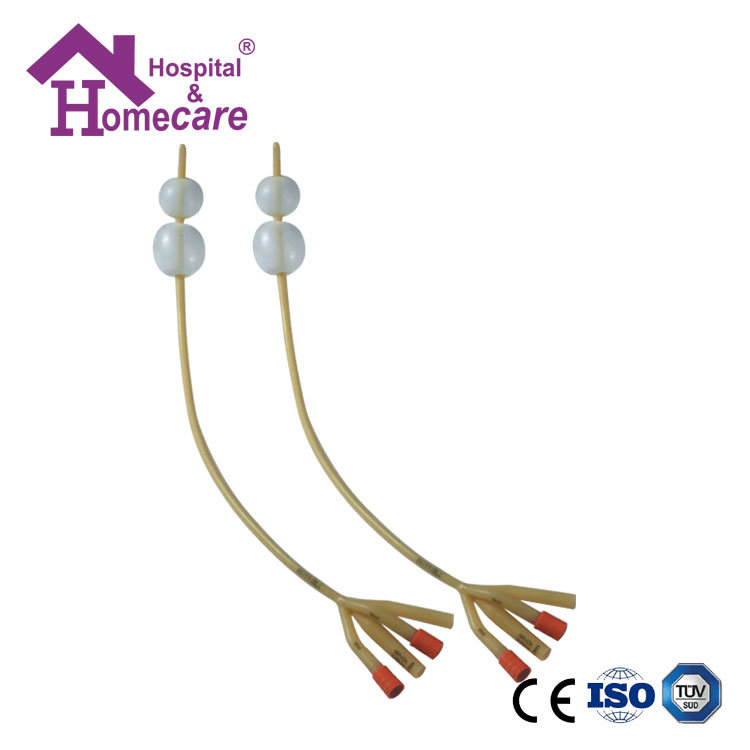 [Hot Item] Disposable 4-Way Double Balloon Latex Foley Catheter with  Silicone Coated