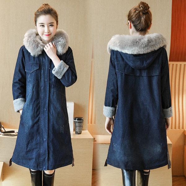 China 2018 Plus Size Thick Long Sleeve Denim Jacket Women Warm Coat