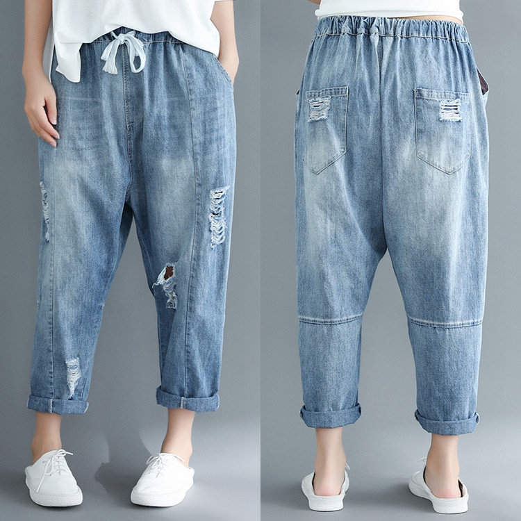 Fashion Ripped Jeans for Women Big Size Baggy Boyfriend Jeans Female Vintage Casual Loose Holes Pockets Denim Harem Pants Used Ladies Apparel Jeans Girl′s ...