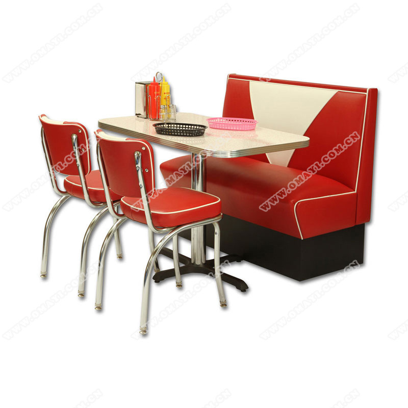 China American Midcentury Retro Restaurant Dining Table And Chair Set Classical Retro Diner 1950s Table And Chair Set China Retro 1950s Diner Table Set Retro 1950s Diner Booth