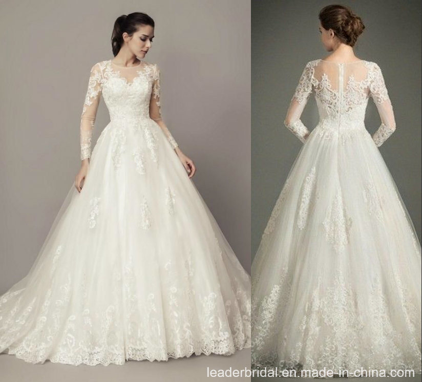 China Lace Bridal Ball Gowns Long Sleeves Arabic Puffy