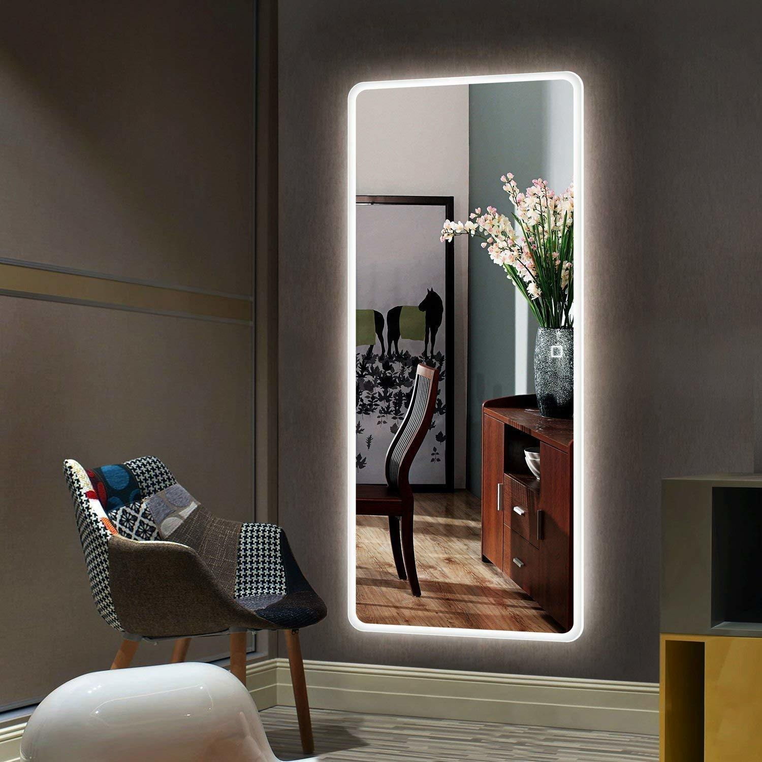 China Fashionable Rectangle Shape Full Length Led Dressing Room Mirror With Light China Decorative Mirror Wall Mirror