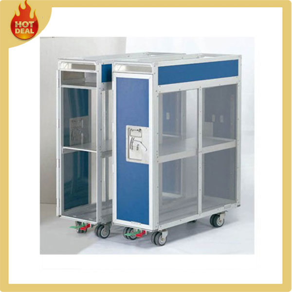 Aluminum Alloy 4 Wheels Aircraft Goods Service Trolley