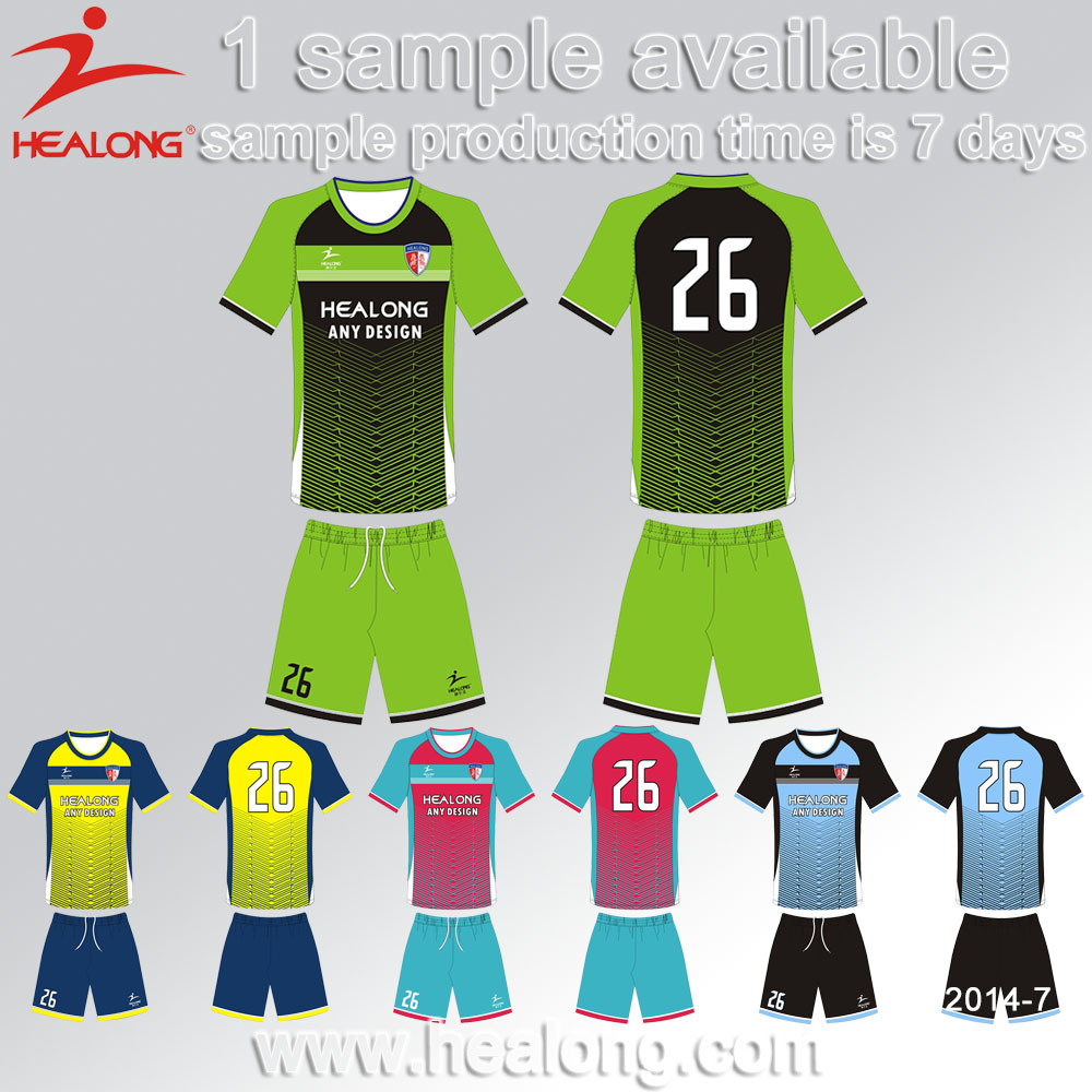 e31d8377e71 China Healong Hot Sales Design Blue Custom Jersey Shirt Soccer ...