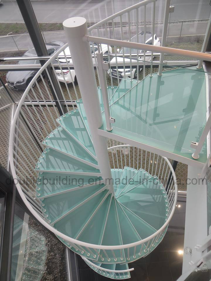 Aluminum Staircase Modular Spiral Stairs With Frost Glass Tread