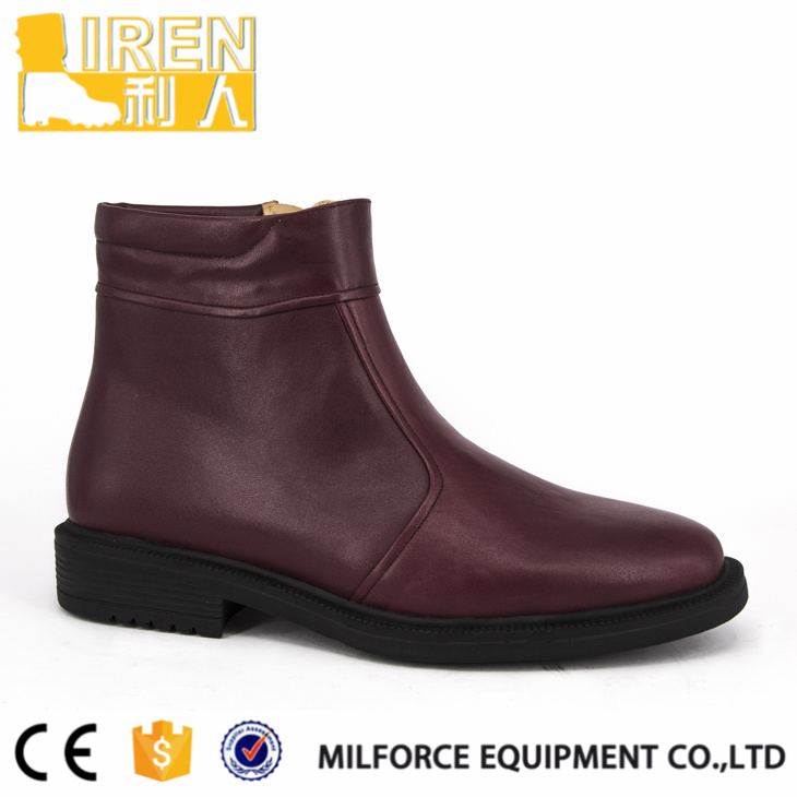 Soft Cow Leather Brown with Side Zipper Military Ankle Boot pictures & photos