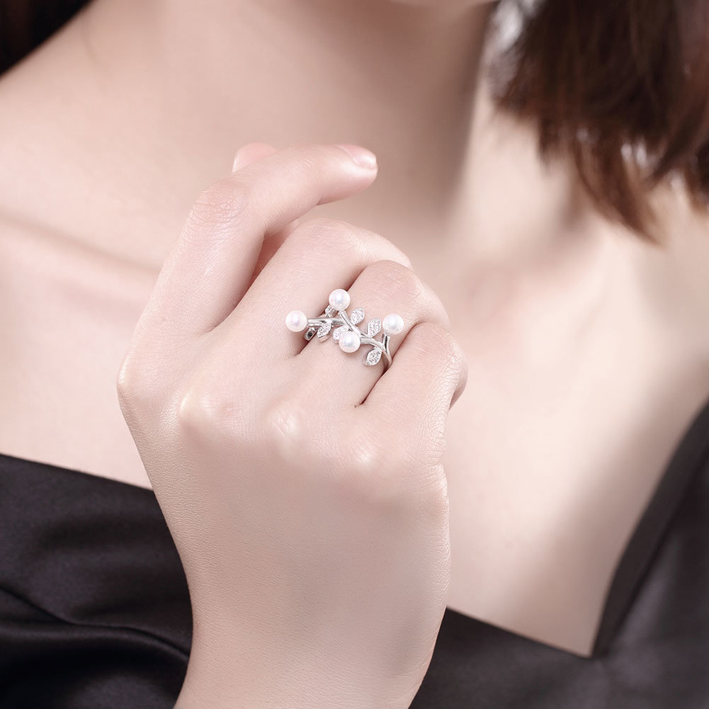 China Pear and Flower Shape Pure Silver Ring 925 Sterling Silver ...