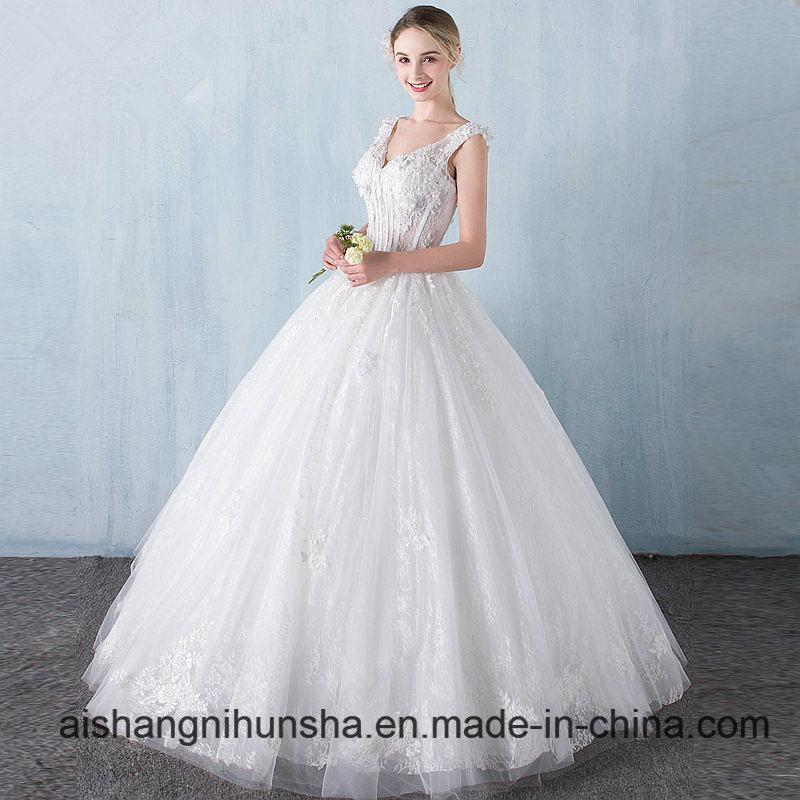 China Princess Lace Flower V-Collar Sleeveless Floor-Length Wedding ...