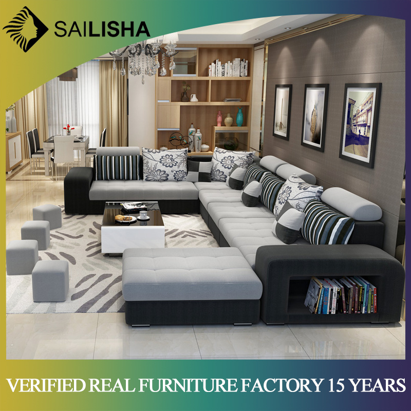 [Hot Item] Modern Simple Design Large Size U-Shaped Fabric Couch Living  Room Sofa Set 7 Seater Corner Sofas