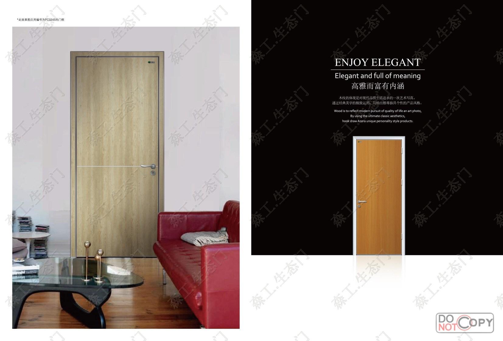 China Luxury Interior Wood Door Wood Doors Polish Color Melamin