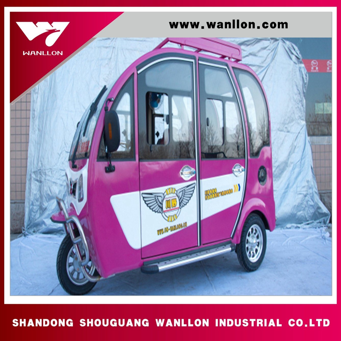 Safe and Stability Electric Three Wheel Passenger Tricycle