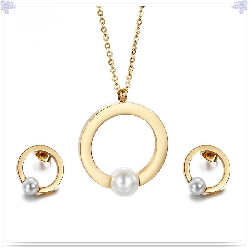 China Fashion Jewellery Pearl Jewelry Stainless Steel Jewelry Set