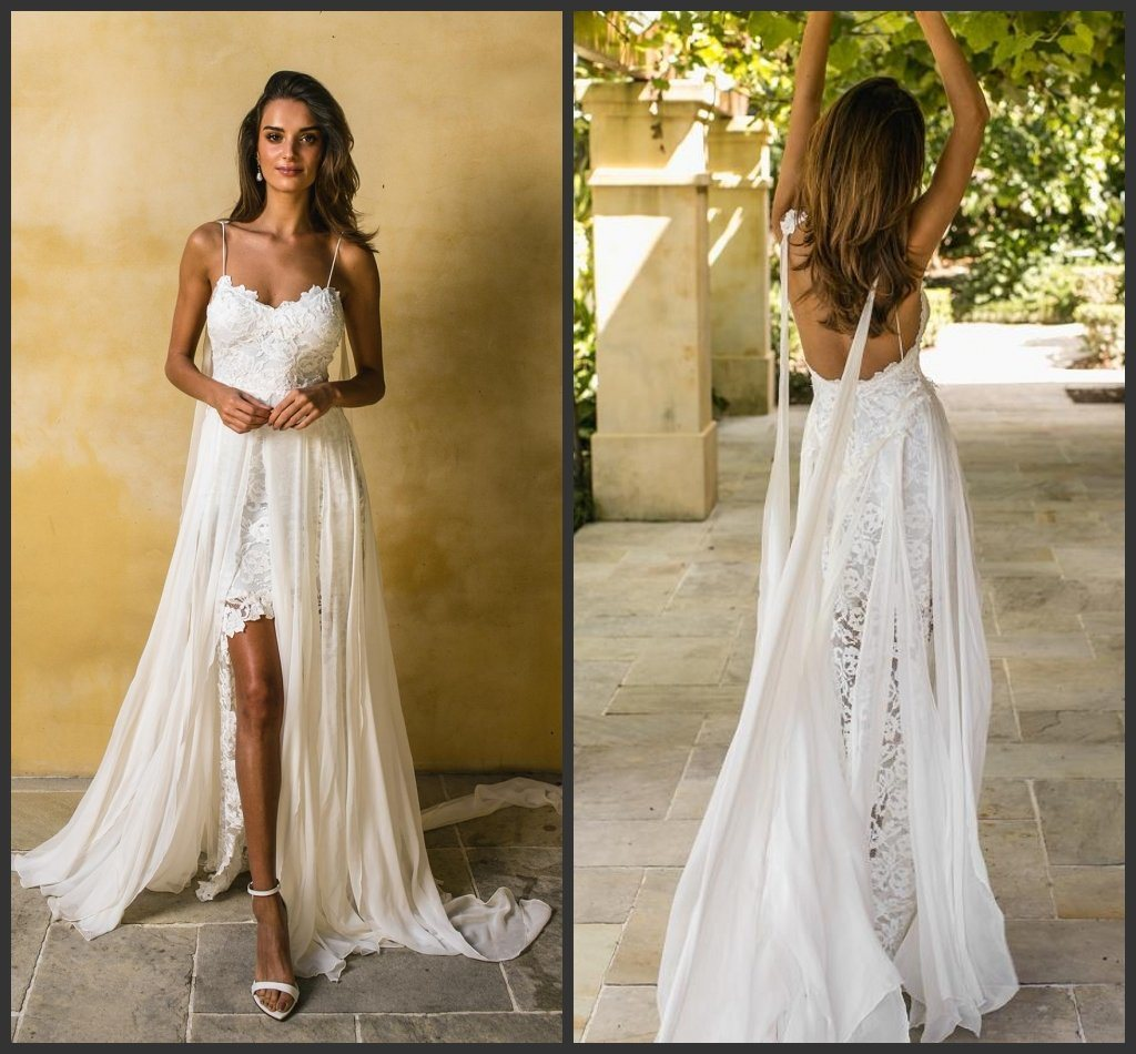 China Lace Bridal Gown Spaghetti Chiffon Garden Beach High-Low ...