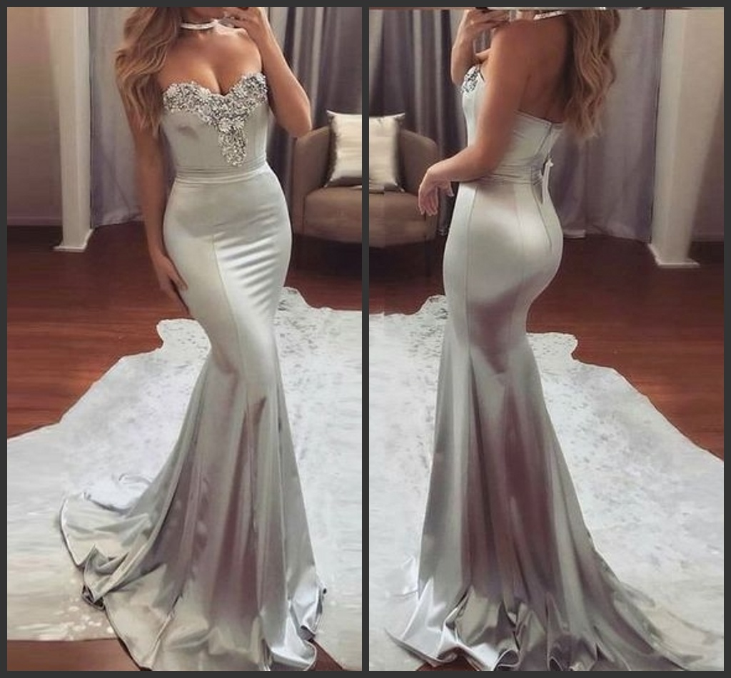 China Strapless Party Prom Gowns Silver Lace Spandex Evening Dresses ...