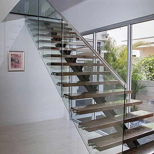 Solid Wooden Indoor Staircase Design With Anti Slip Tread/ Floating Glass  Stairs