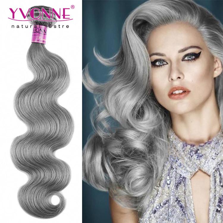 China Color Grey Hair Weave Brazilian Human Hair China Human Hair