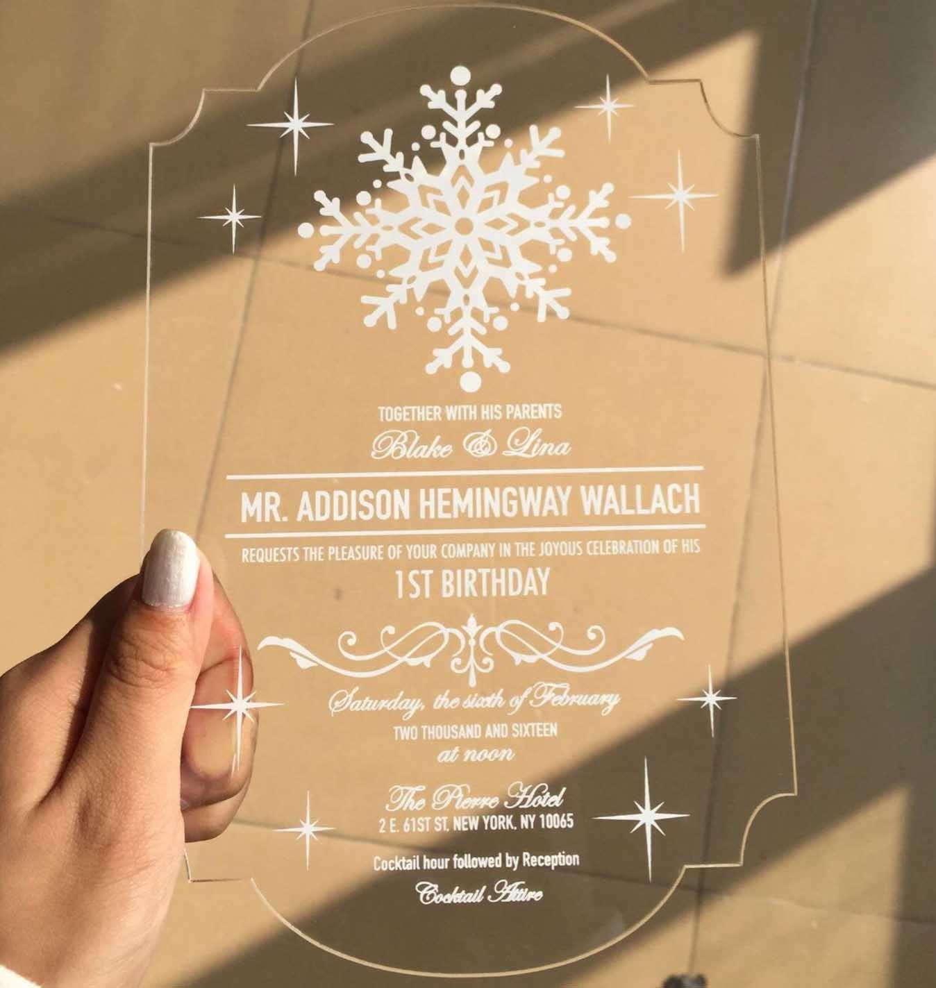 Hot Item Custom Writing Laser Cut Clear Acrylic Wedding Invitation Card