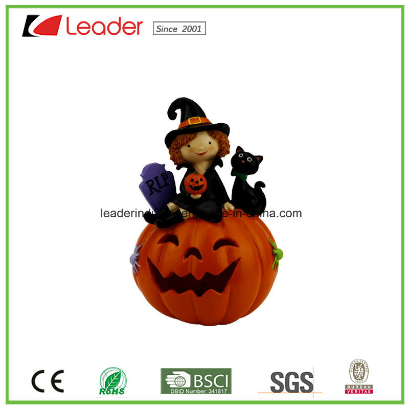 Hand Painted Polyresin Decorative Chair with Pumpkin Bat for Halloween Decoration pictures & photos