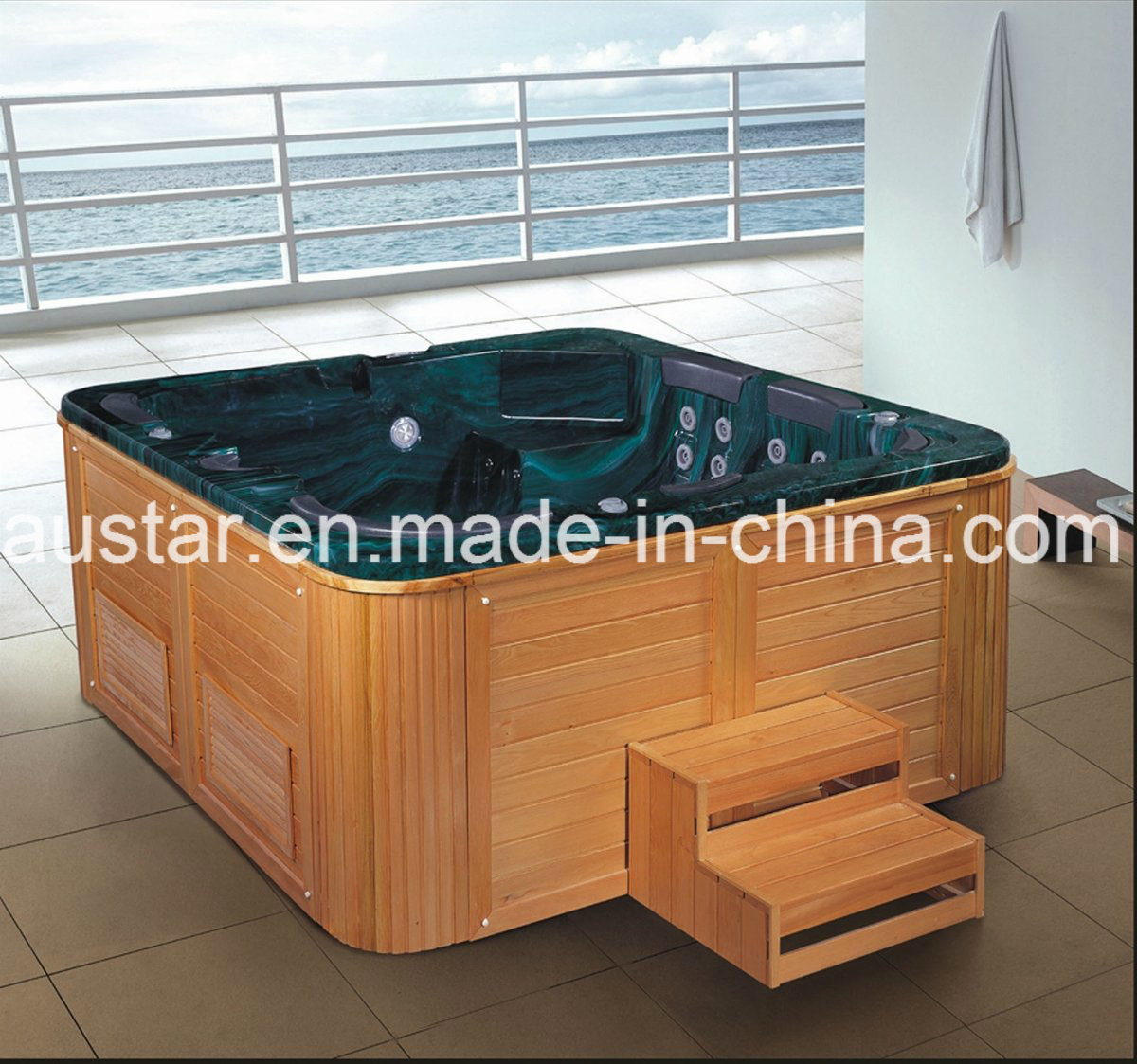 2350mm Green Outdoor SPA with Steps 7 People (AT-8801)