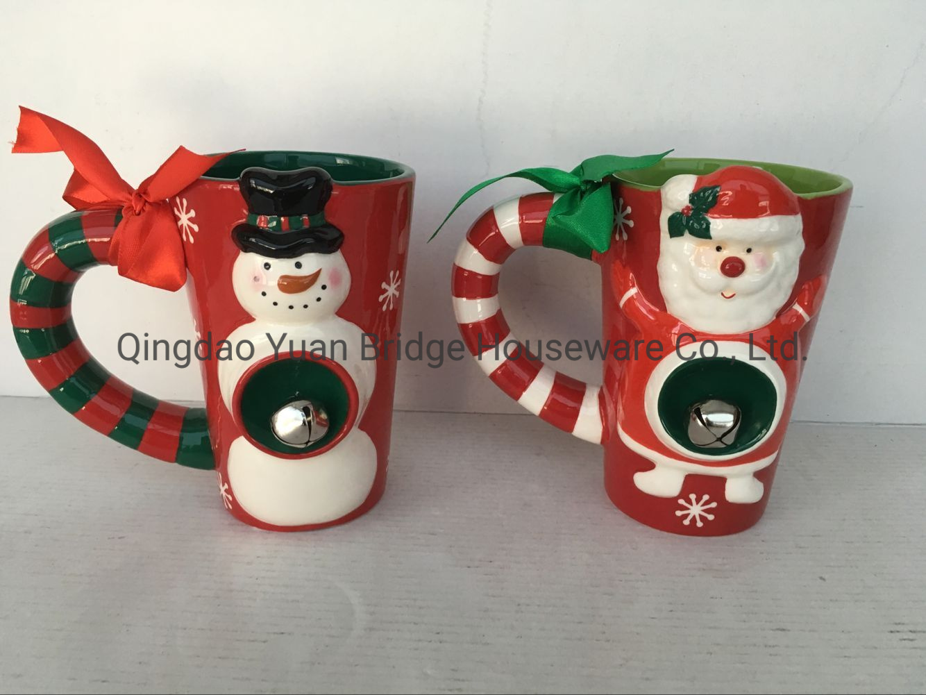 China Christmas Santa Snowman Sculpture Mug Drawing Color With Bell And Ribbon Decor China Mug And Cookware Price