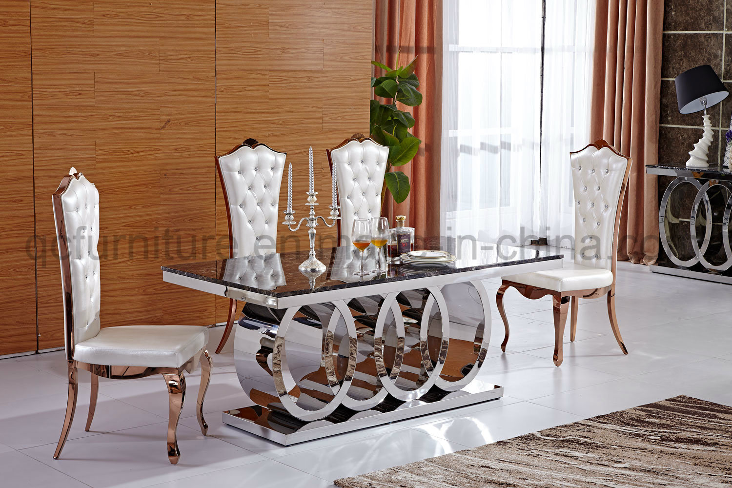China Audi Logo Stainless Steel Base Marble Top Dining