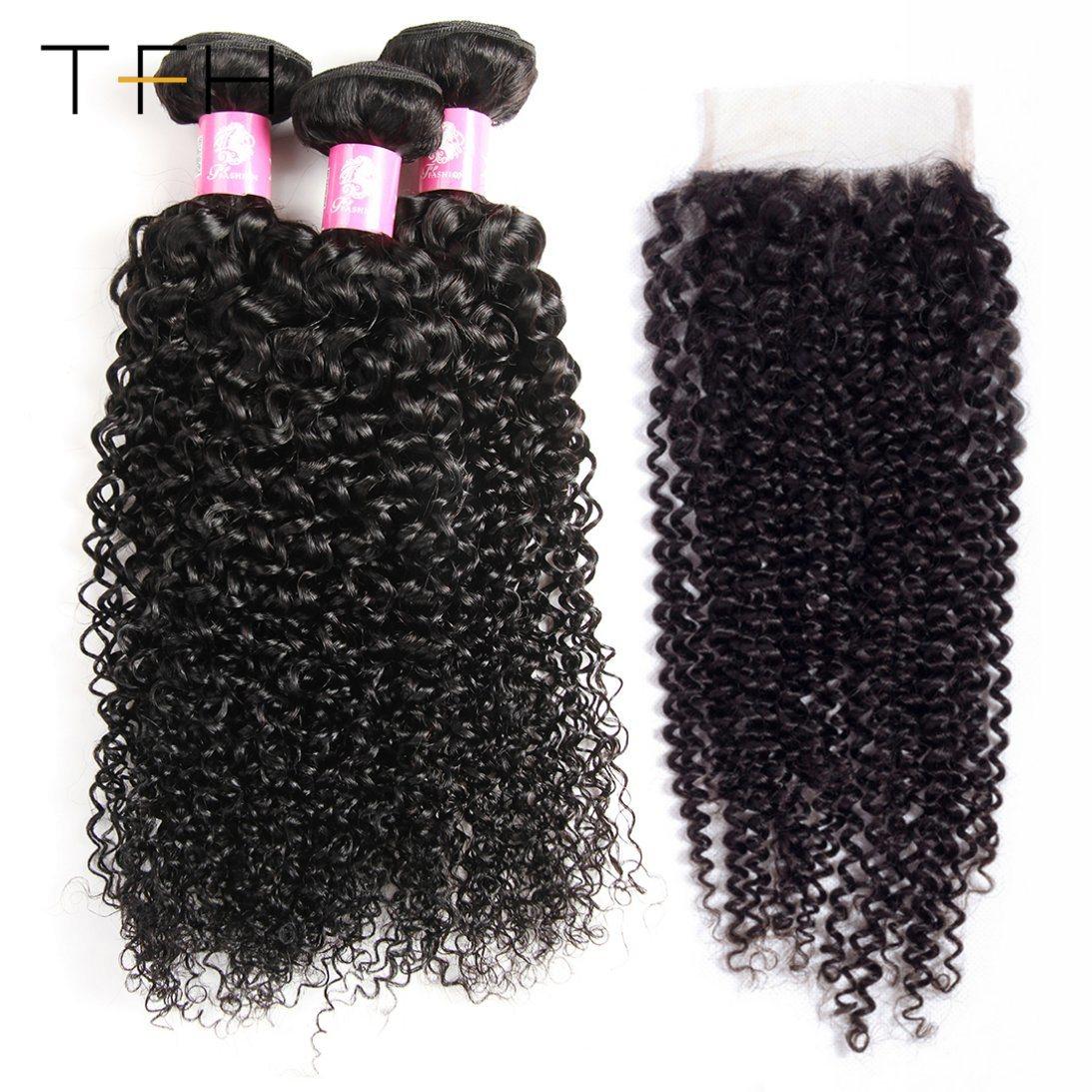 China Human Hair Bundles With Closure Peruvian Kinky Curly Hair