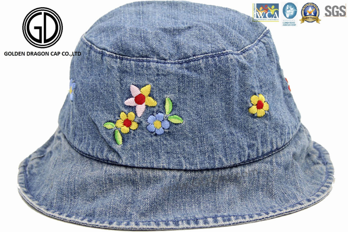 bbd650bc15632 China Kids Baby Children Denim Fabric Bucket Hat with Flower Embroidery -  China Bucket Hat
