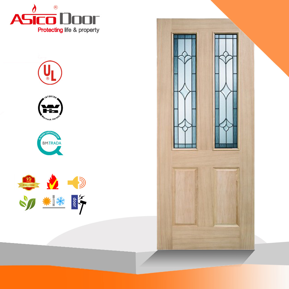 China Solid Timber Oak Wooden Glass Door China Wood Door Interior