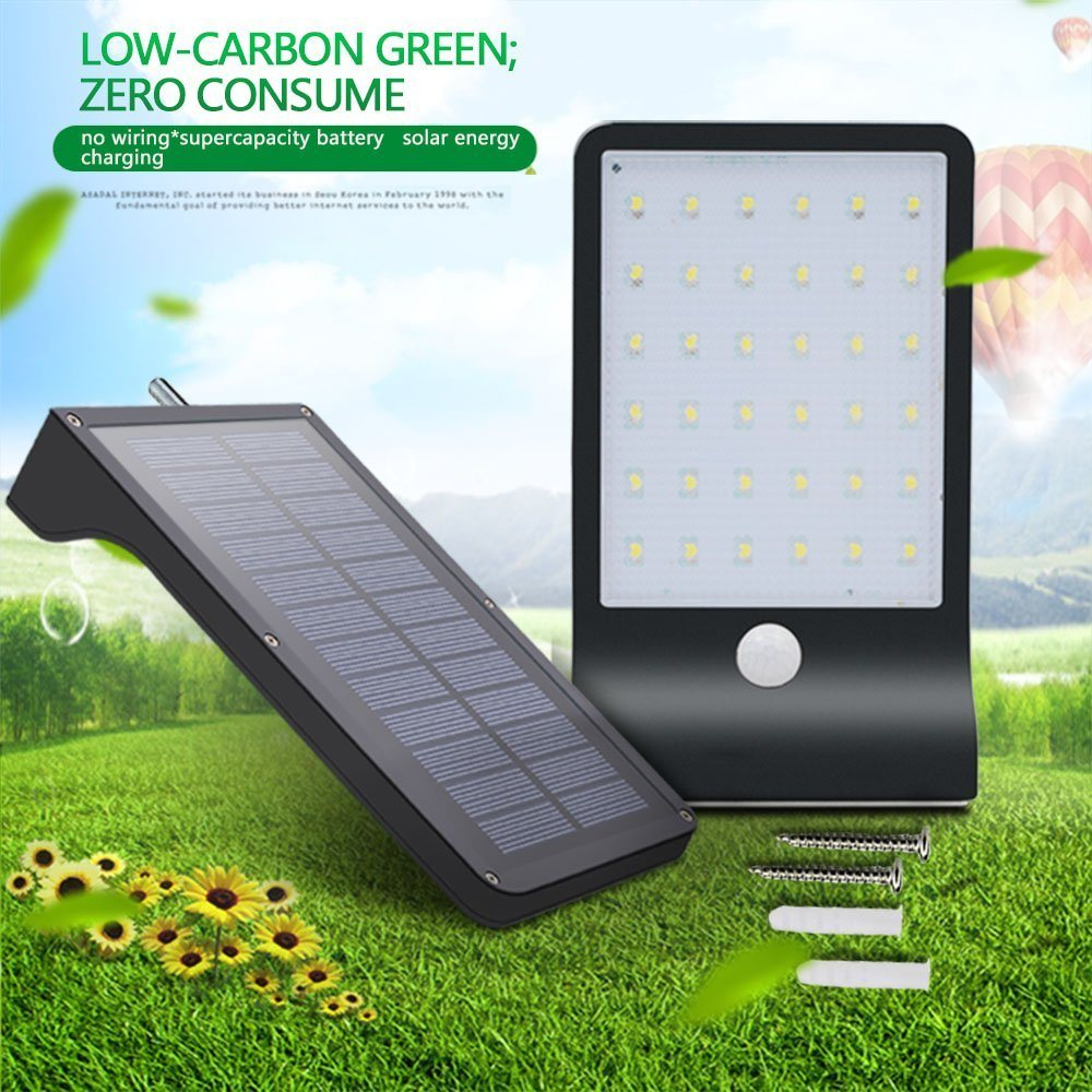 China 100 Solar Power Light Sensor 36 Led Wall Outdoor Garden No Wiring Fence Lamp Global Sunrise