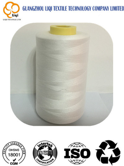 Raw White Color 100% Polyester Yarn for Sewing Usage pictures & photos