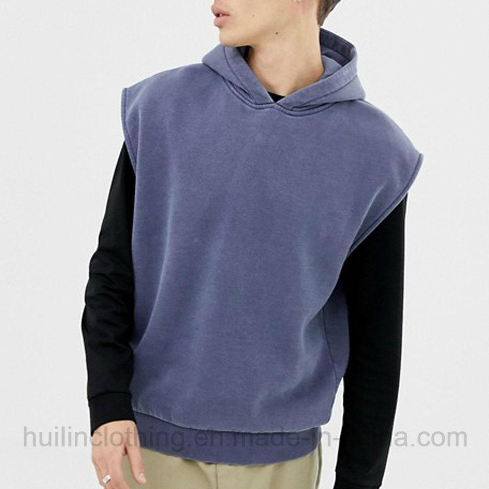 aa8d014698a06a China Custom Cotton Sweatshirt Vintage Overdye Pullover Plain Sleeveless  Hoodie for Men - China Custom Hoodies