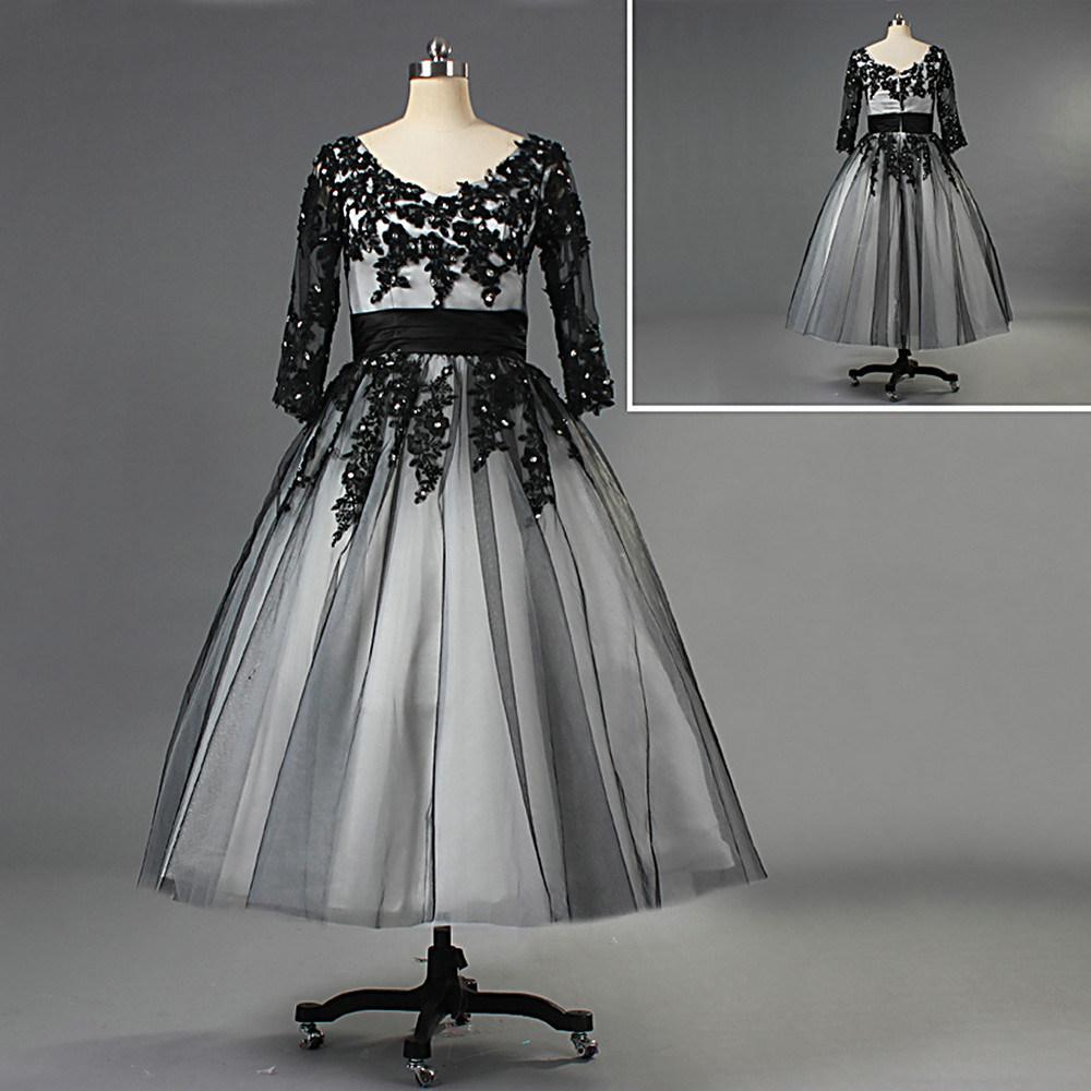 Black And White Wedding Dress.Hot Item 3 4 Sleeve Black Lace Overlay Tulle Short Wedding Dresses For Bride W137