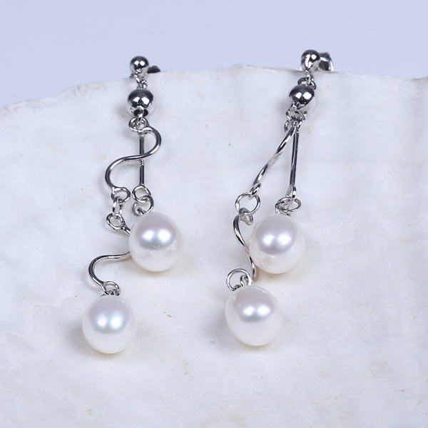 2016 Korean Simple Fashion Design Freshwater Real Pearl Earring