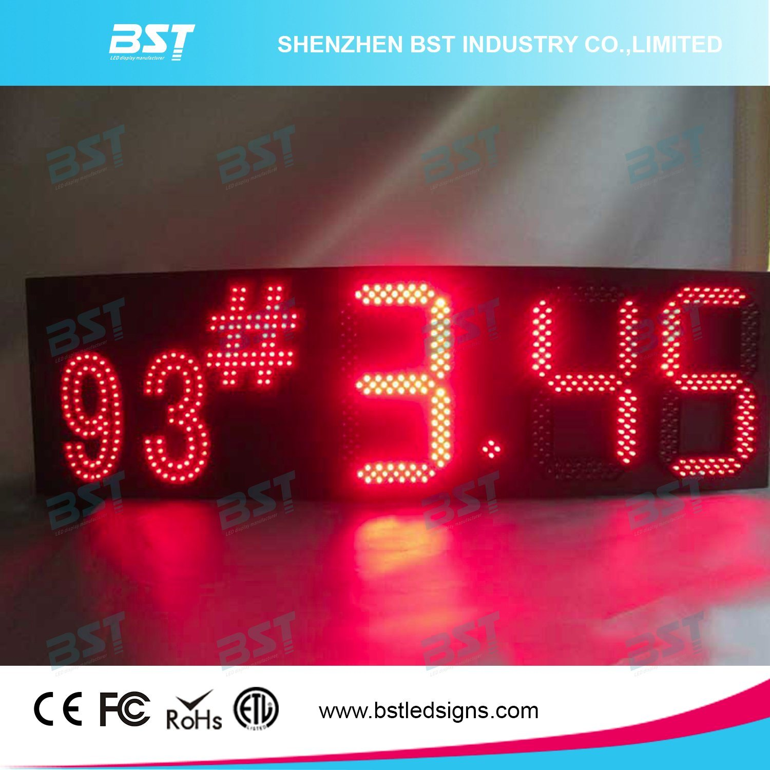 "Red/Green/Yellow/White Outdoor Waterproof Gas Price LED Sign (6""/8""/10""/12""/15""/18""/20""/22""/24"") pictures & photos"