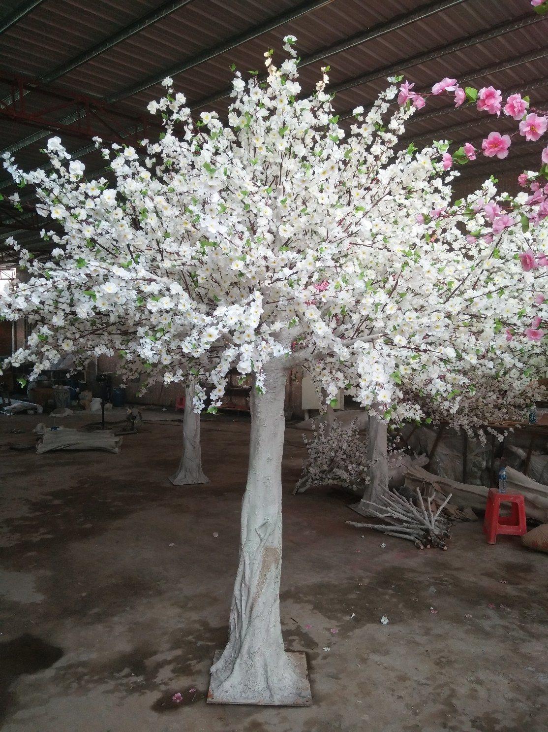 China Artificial Peach Blossom Tree White Silk Flowers Cherry