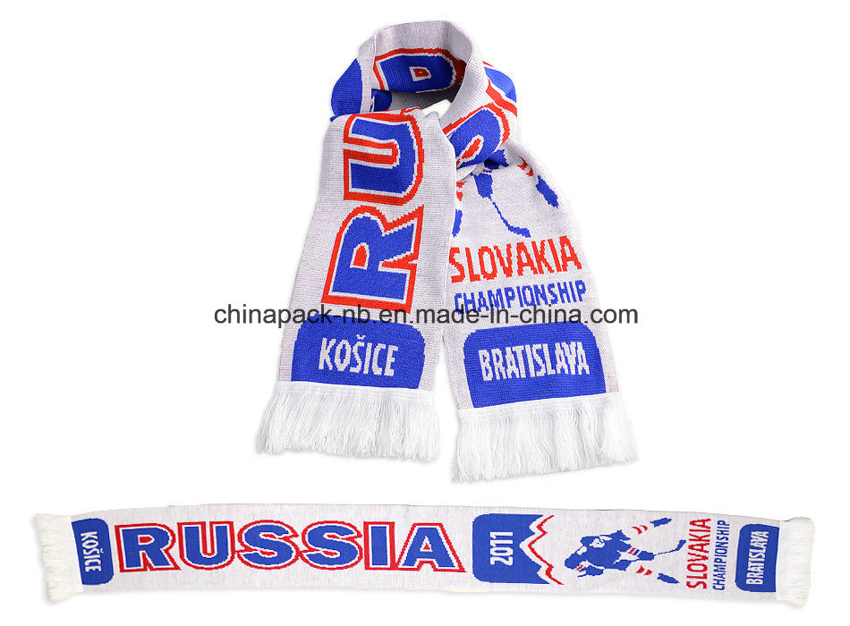 Acrylic Knitted Jacquard Weave Scarf World Ice Hockey Championships (CPAS-1002) pictures & photos