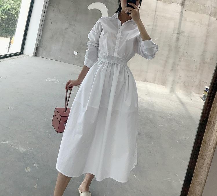 [Hot Item] Loose Long Sleeve Waist Cotton White Shirt Dress Woman