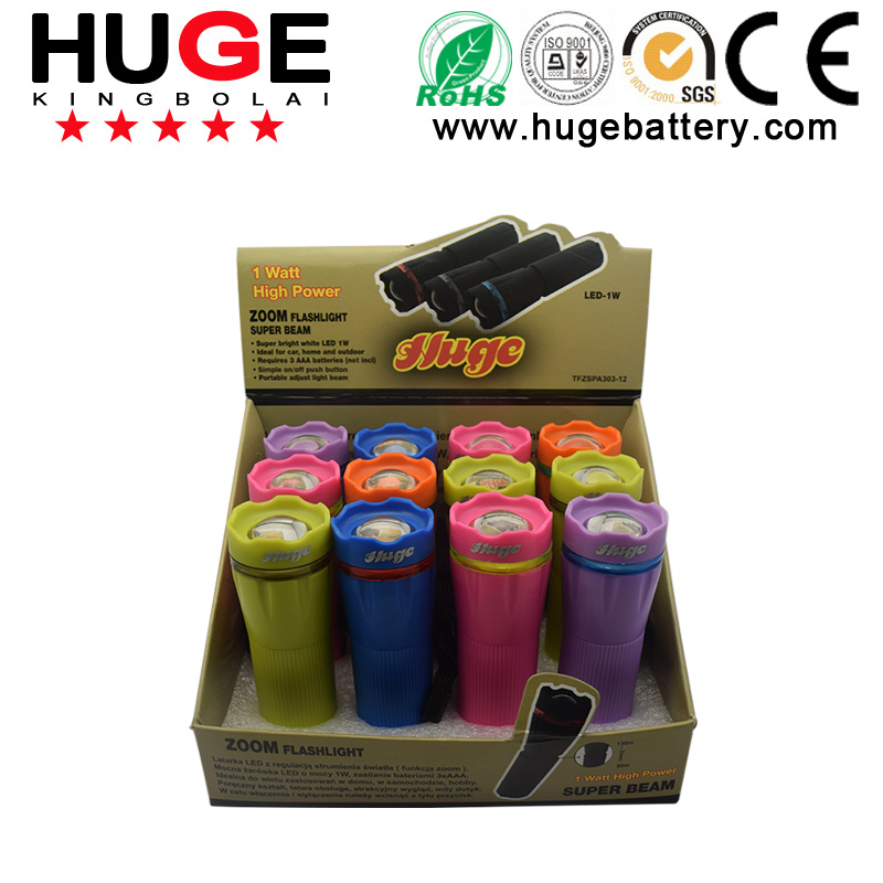 Colorfur & Portable Torch with 3AAA Batteries