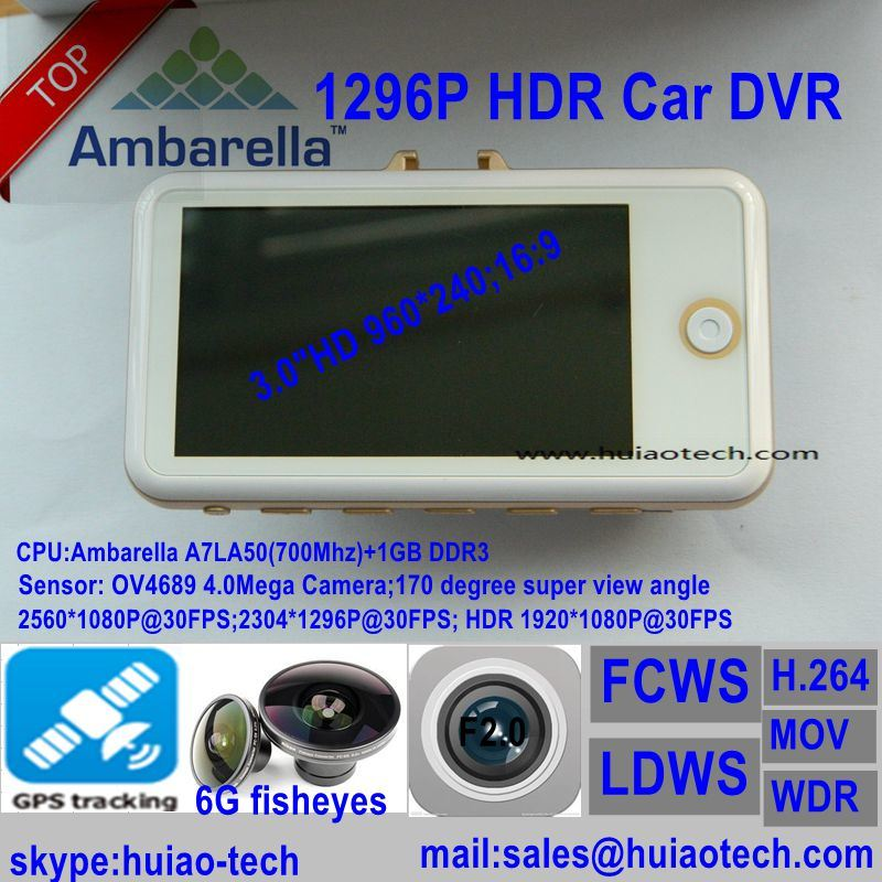 "3.0"" Ambrella A7la50 GPS Tracking Car DVR with Hdr; WDR; Fcws; Ldws; G-Sensor"