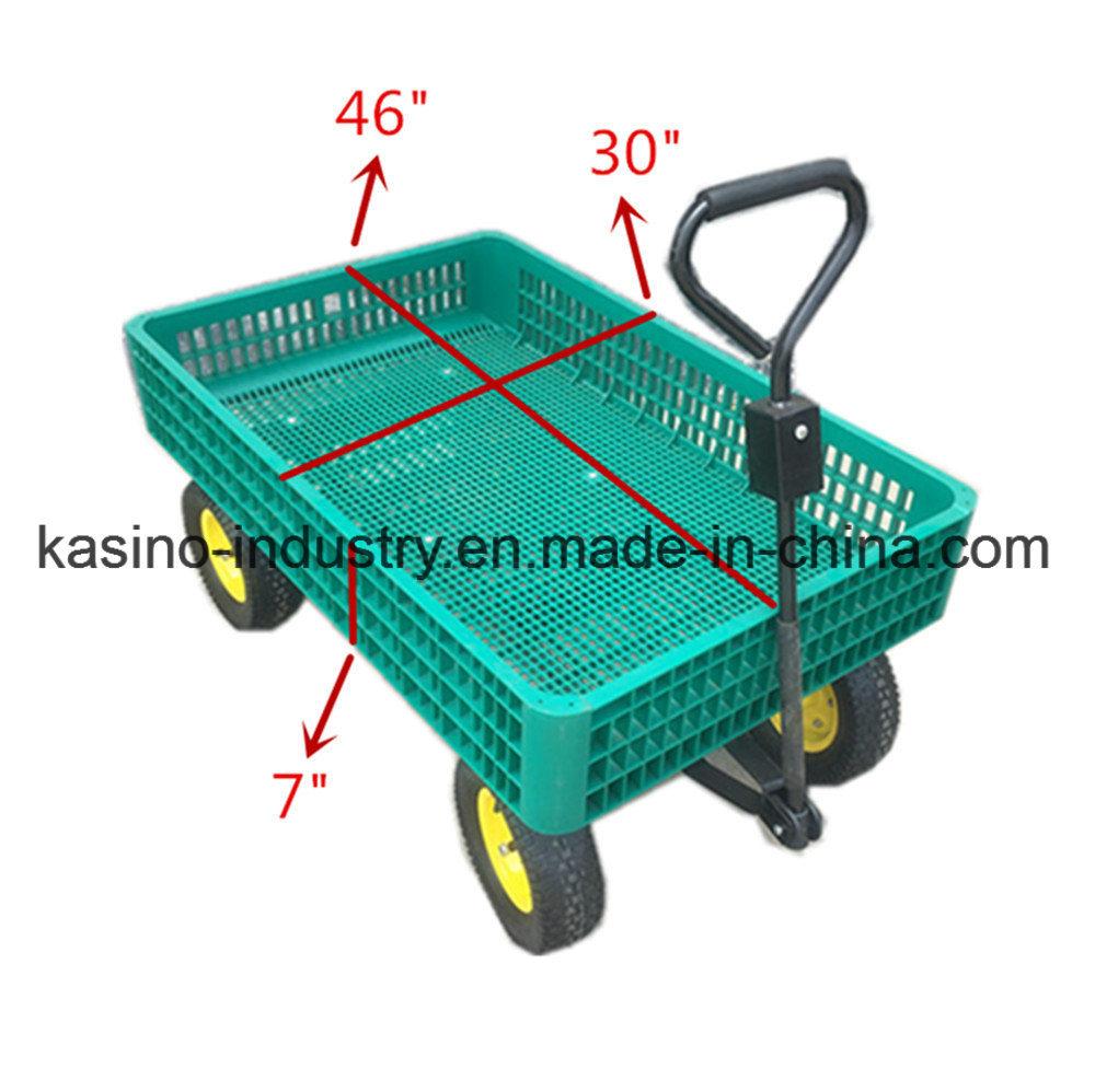 China Manufacturing Garden Nursery Cart Plastic Mesh Beach Wagon Material Handling