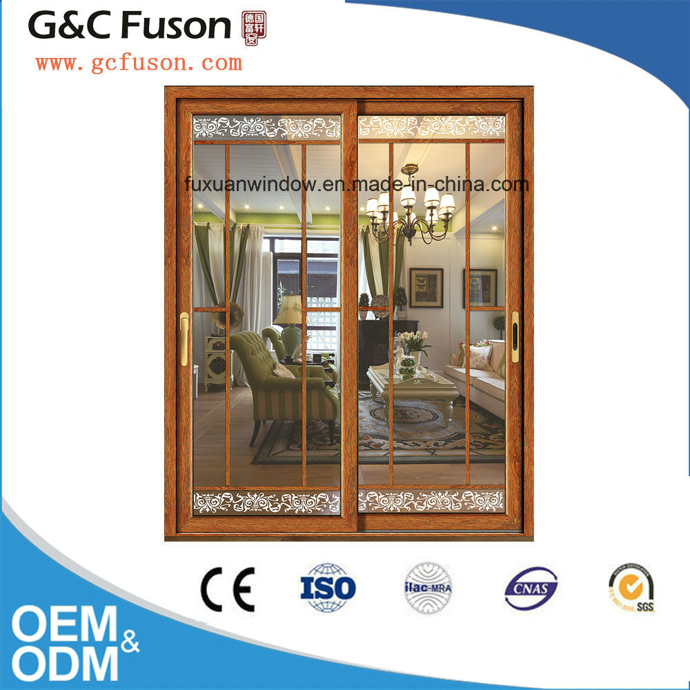 Made in China Aluminum Double Tempered Glass Sliding Door Manufacturer pictures & photos