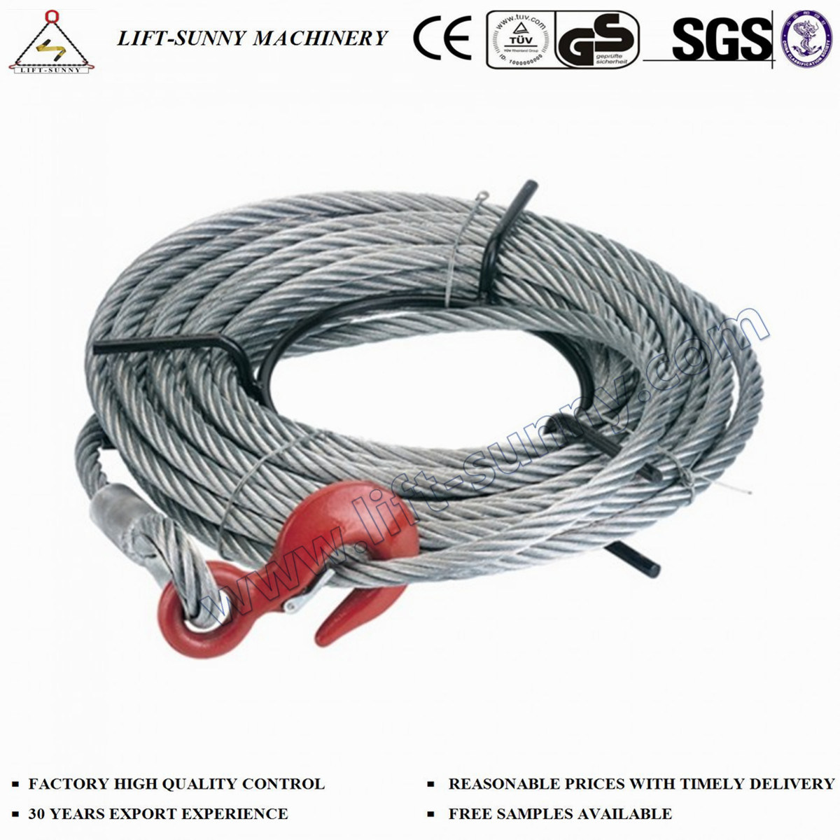 China Wire Rope Pulling Hoist with Cable and Hoist Hook Photos ...