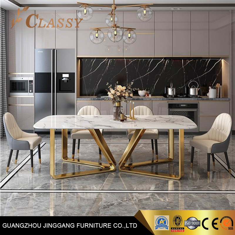 Goldenmetal Stainless Steel Base, Luxury Modern Dining Room Tables