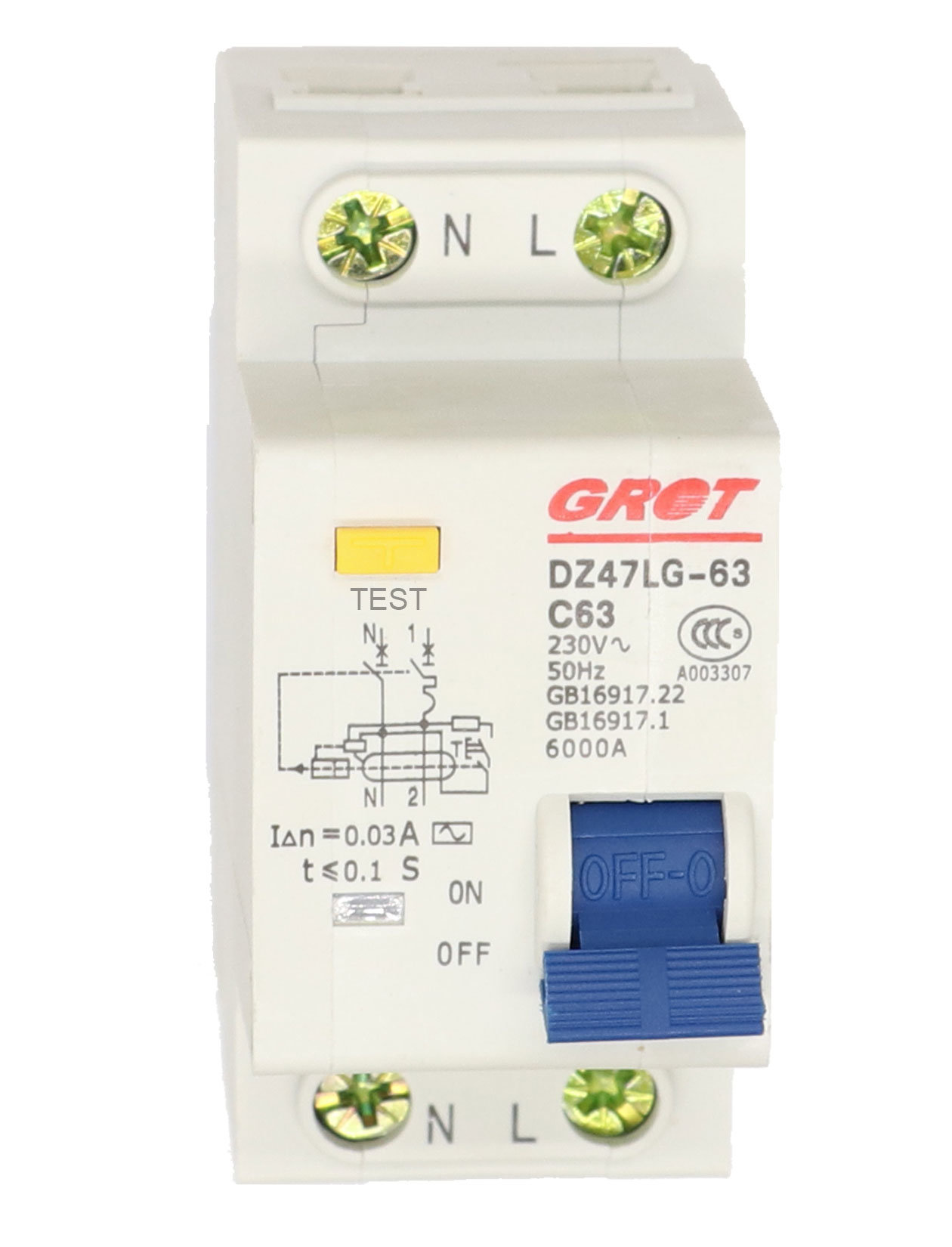 DZ47LE 1P+N 6A C type 230V~ 50HZ//60HZ Residual current Circuit breaker
