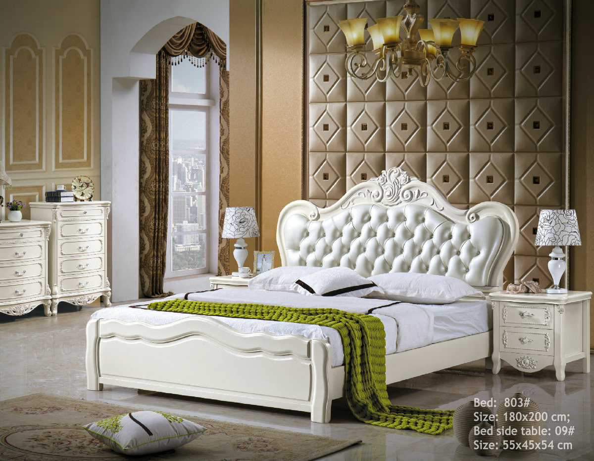 [Hot Item] Royal Bedroom Furniture Sets Wooden Leather Bed (3)