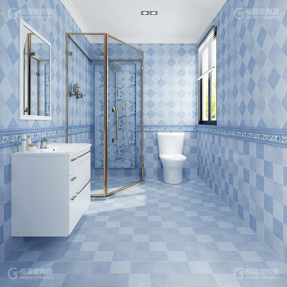 Bathroom Cheramic Blue Floor Tile
