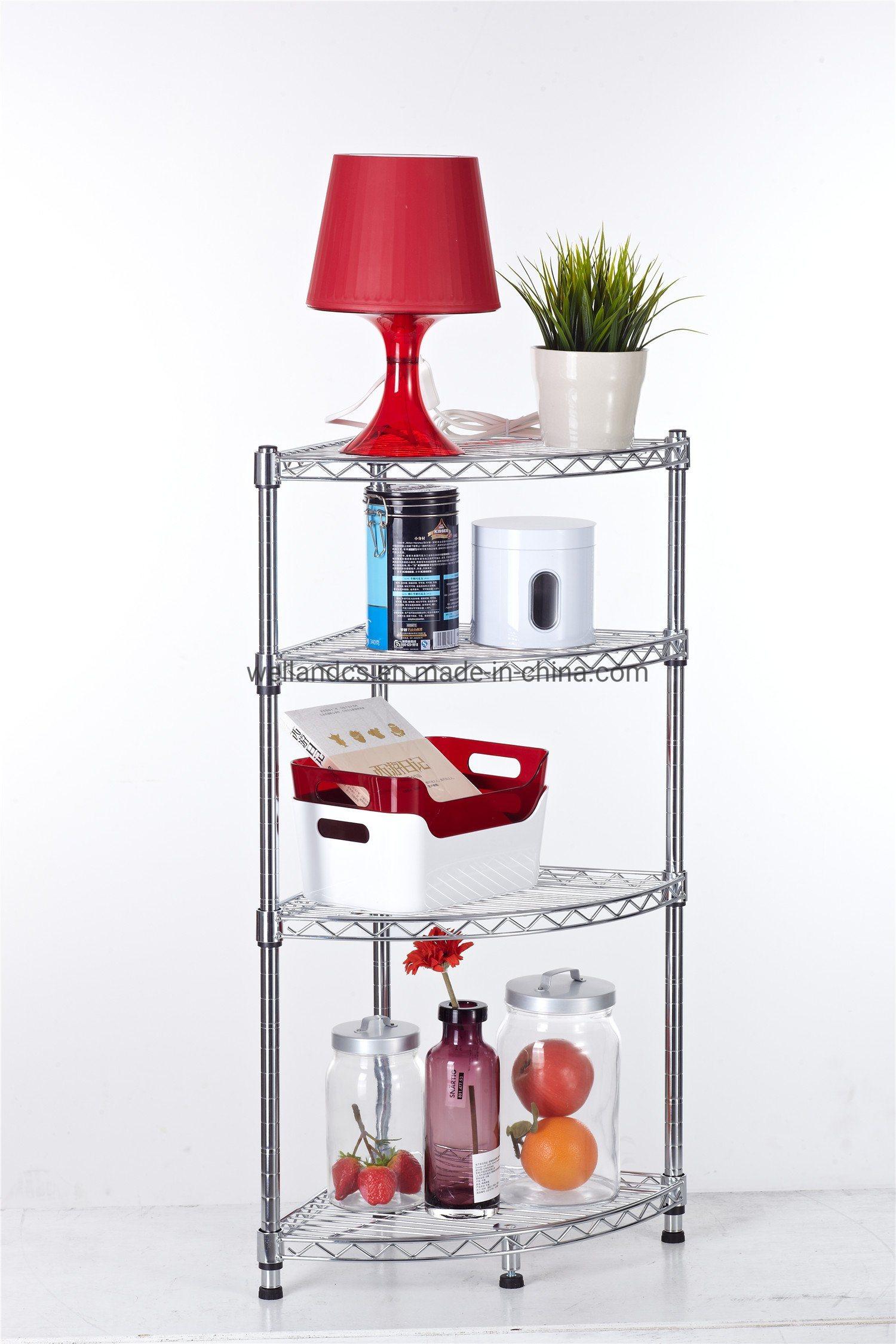 Hot Item Diy 4 Tiers Chrome Metal Wire Corner Rack Shelf For Livingroom